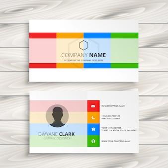 Elegante weiße visitenkarte mit farbformen