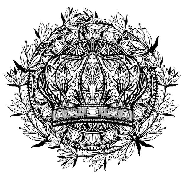 Elegante zeichnungskunst des kronenkönigs und der königin. schwarze farbe im weißen hintergrund.