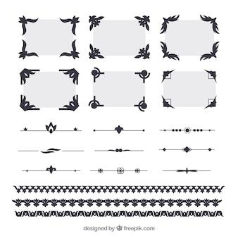 Elegante zertifikat-elementsammlung mit flachem design