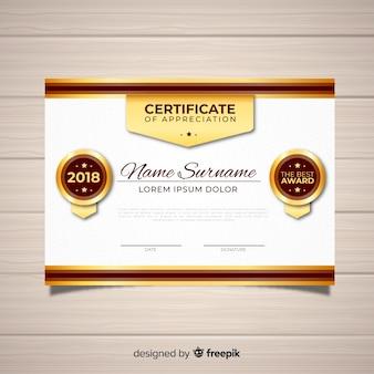 Elegante zertifikatschablone mit goldener art