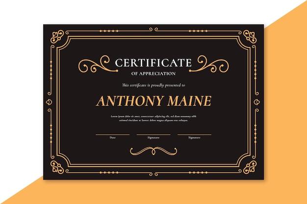 Elegante zertifikatsschablone mit goldenen verzierungen