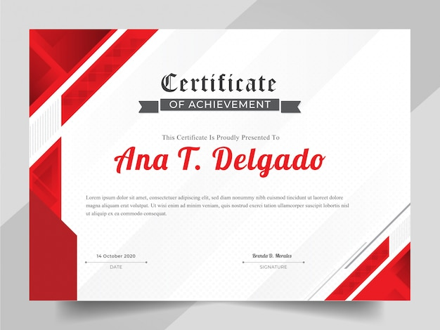 Elegante zertifikatsschablone mit rotem abstraktem hintergrund
