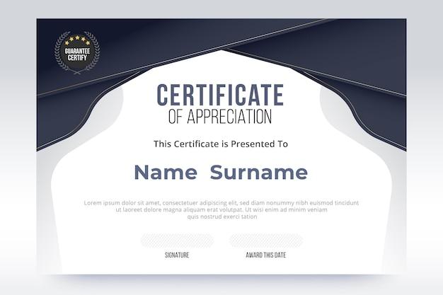 Elegante zertifikatsvorlage mit farbverlauf