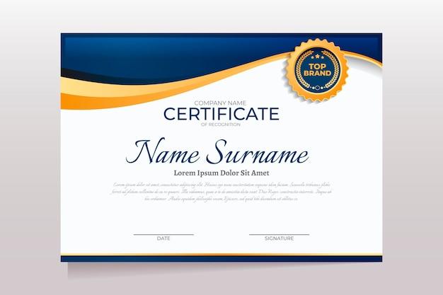 Elegante zertifikatsvorlage
