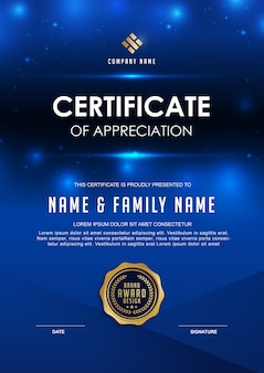 Elegante zertifikatvorlage mit blauen details