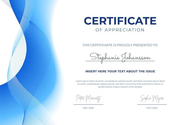 Elegante zertifikatvorlage mit farbverlauf mit blauen wellen