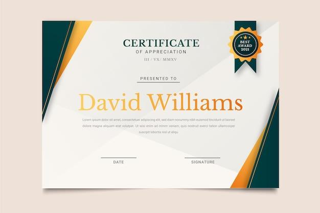 Elegante zertifikatvorlage mit farbverlauf Premium Vektoren