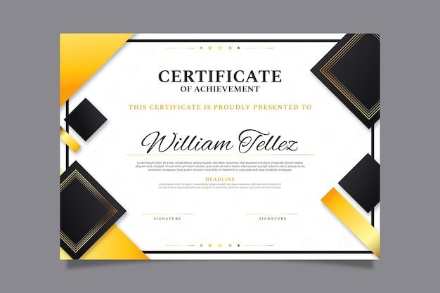 Elegante zertifikatvorlage mit farbverlauf