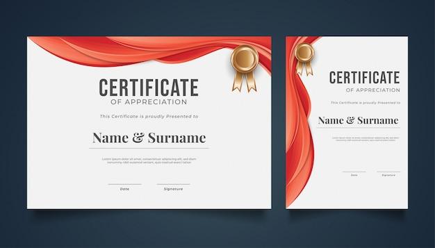 Elegante zertifikatvorlage mit gewelltem papierschnitt