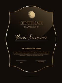 Elegante zertifikatvorlage mit glasmaterialrahmen