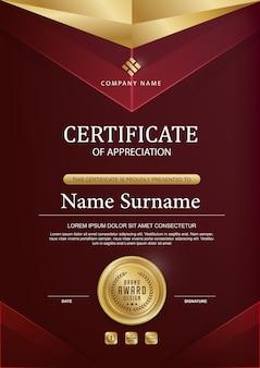 Elegante zertifikatvorlage mit golddetails