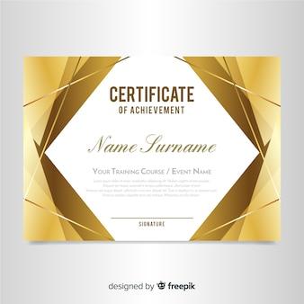 Elegante zertifikatvorlage mit goldenem design