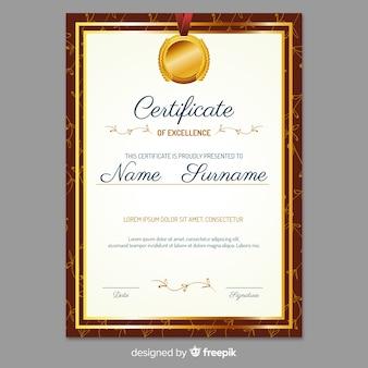 Elegante zertifikatvorlage mit goldenem stil