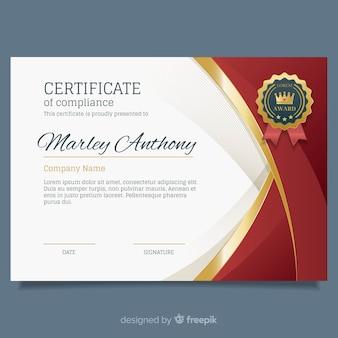 Elegante zertifikatvorlage mit goldenen elementen