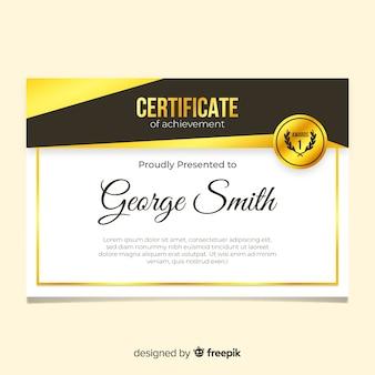 Elegante zertifikatvorlage mit goldenen formen