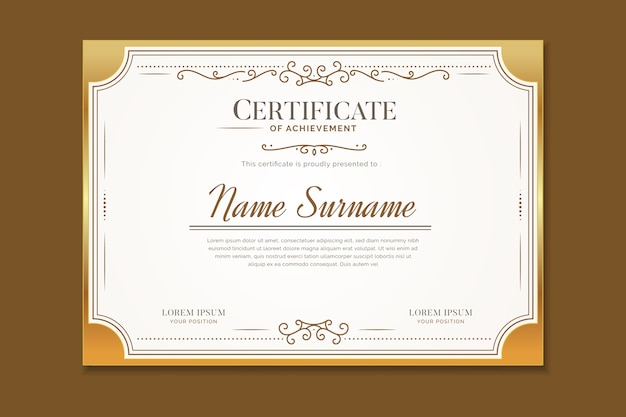 Elegante zertifikatvorlage mit ornamenten