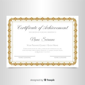 Elegante zertifikatvorlage mit ornamentrahmen