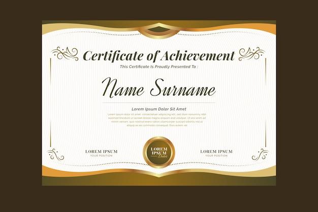 Elegante zertifikatvorlage mit zierelementen
