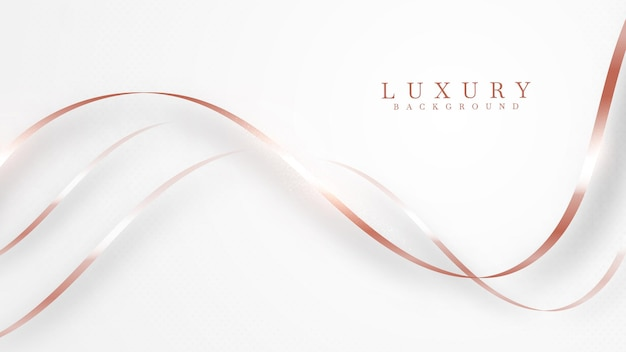 Eleganter abstrakter kupferner kurvenlinienhintergrund mit glänzenden elementen. rosentöne. realistisches modernes konzept des luxuspapierschnittstils 3d. vektorillustration für design.