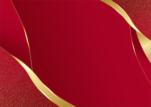 Eleganter abstrakter roter hintergrund mit geometrischer dreiecksform und goldenen linienelementen. realistisches modernes konzept des luxuspapierschnittstils 3d. vektorillustration für design