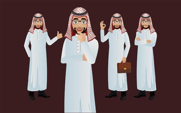 Eleganter arabischer mann mit verschiedenen posen