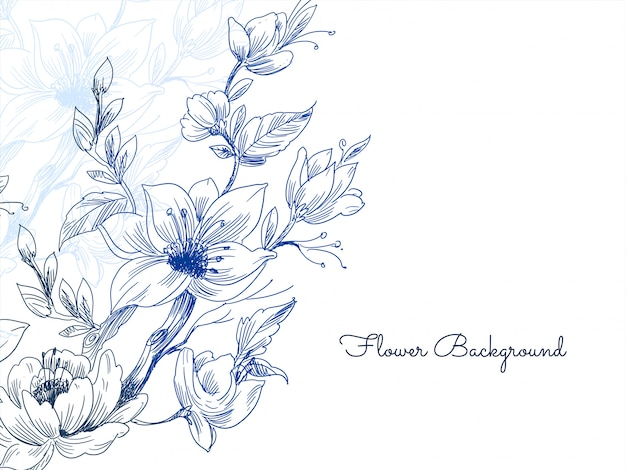 Eleganter blauer hand gezeichneter blumenhintergrundvektor