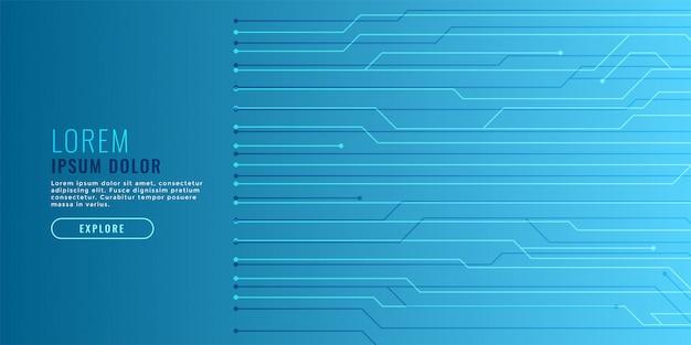 Eleganter blauer technologiehintergrund mit stromkreislinien