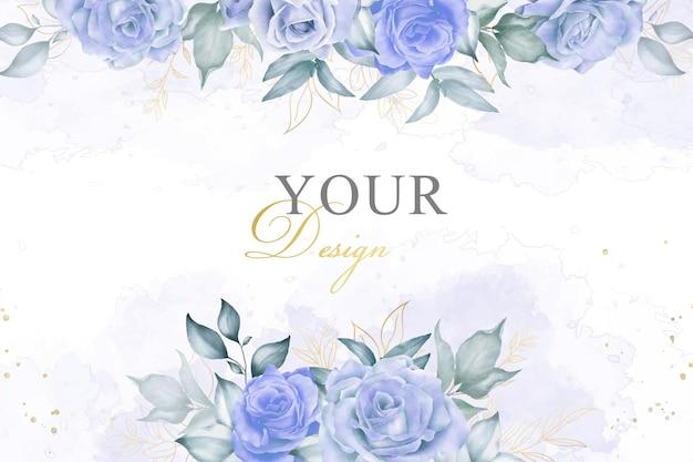 Eleganter blumenarrangement-hintergrund mit handgemaltem aquarell-blumen- und blätter-element