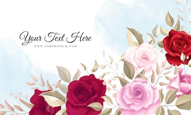 Eleganter blumenhintergrund mit schönen kastanienbraunen rosen