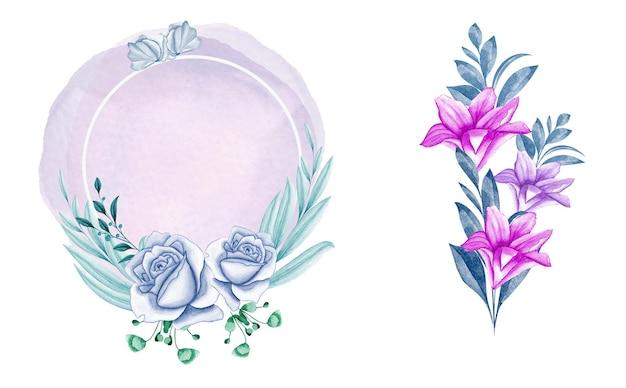 Eleganter blumenrahmen mit schönen blumen und marineblättern