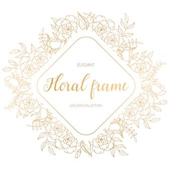 Eleganter blumenrautenrahmen mit goldenen blättern und niederlassungen