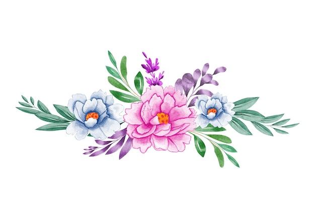 Eleganter blumenstrauß-blumenstrauß des aquarells mit schöner blume