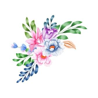 Eleganter blumenstrauß mit schönen blättern und blüten