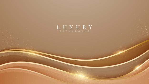 Eleganter brauner schattenhintergrund mit goldenen linienelementen. realistisches modernes konzept des luxuspapierschnittstils 3d. vektorillustration für design.