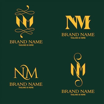 Eleganter buchstabe nm logo template