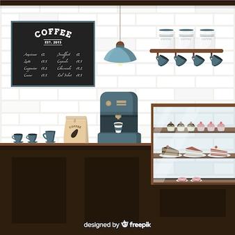 Eleganter coffeeshop-innenraum mit flachem design