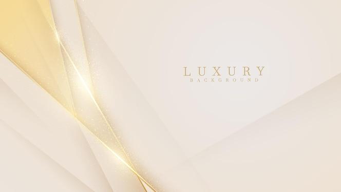 Eleganter cremefarbener hintergrund mit goldenen elementen der linie. realistischer luxus