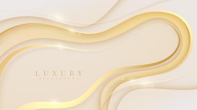 Eleganter cremefarbener hintergrund mit goldenen linienelementen. realistisches modernes konzept des luxuspapierschnittstils 3d. vektorillustration für design.