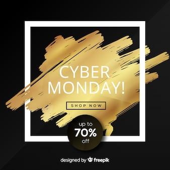 Eleganter Cyber-Montag-Verkaufshintergrund mit goldenem Text