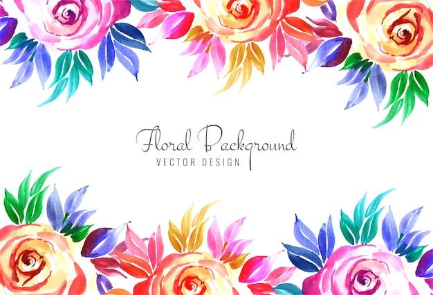 Eleganter dekorativer bunter blumenhochzeitskartenhintergrund