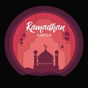 Eleganter dekorativer festivalhintergrund des ramadan kareem mit moschee