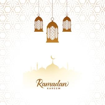 Eleganter dekorativer hintergrund der islamischen laterne ramadan kareem