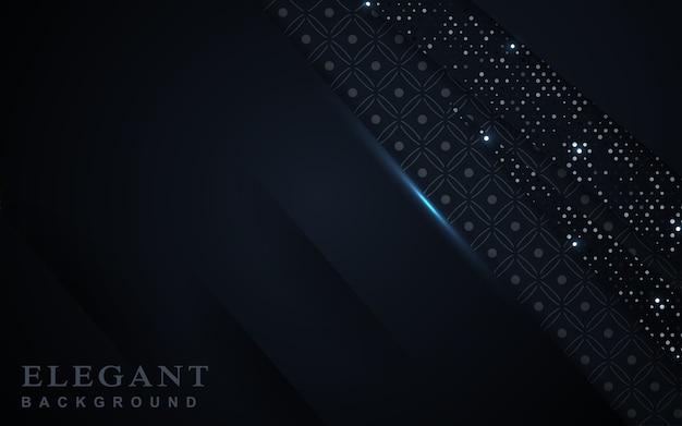 Eleganter dunkelblauer hintergrund mit glitzerdekoration