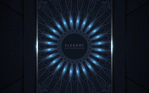 Eleganter dunkelblauer hintergrund mit mandala-dekoration