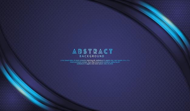 Eleganter dunkelblauer überlappungsebenenhintergrund mit hellblauen linien wirken auf strukturierte dunkelheit
