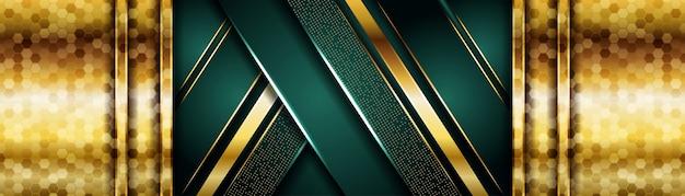 Eleganter dunkelgrüner hintergrund kombiniert mit goldener überlappungsschicht