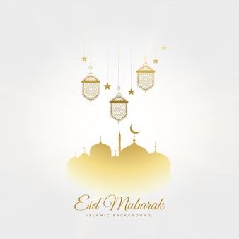 Eleganter eid mubarak festivalgruß mit lampen und moschee