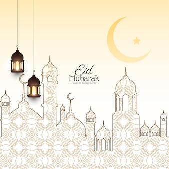 Eleganter eid mubarak festivalhintergrund mit moscheenentwurfsvektor