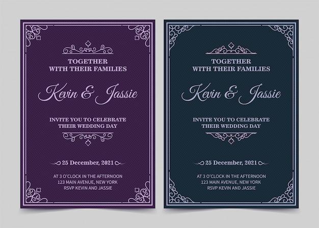 Eleganter einladungskartenvektordesign-weinlesestil