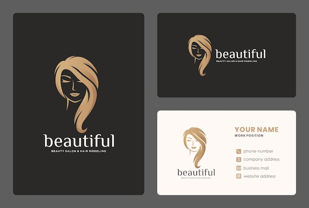 Eleganter friseursalon / schönheitsfrauenlogodesign mit visitenkartenschablone.